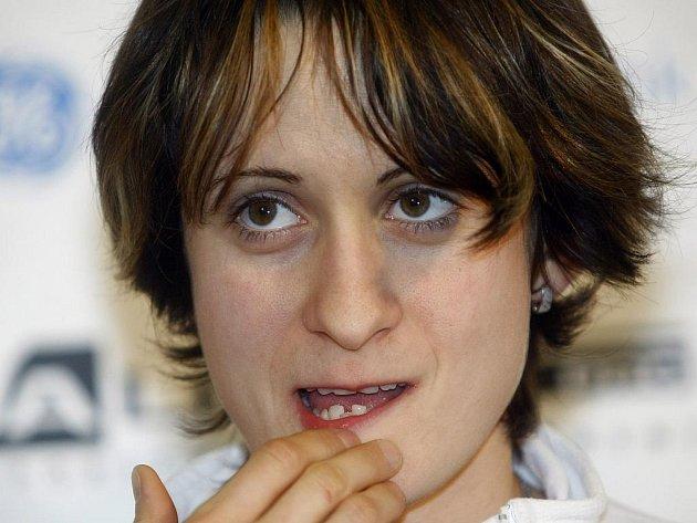 Dvojnásobná olympijská vítězka rychlobruslařka Martina Sáblíková na tiskové konferenci po příletu z Vancouveru.