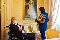 Prezident Miloš Zeman přijal 8. června 2021 na zámku v Lánech představitelku běloruské opozice Svjatlanu Cichanouskou