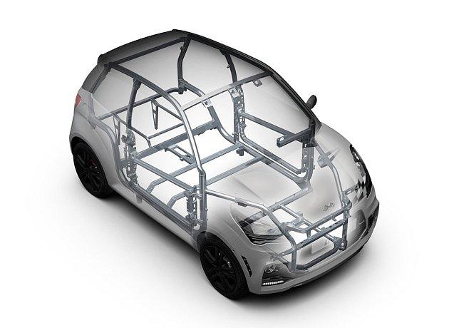 Vozy Ligier jsou bezpečné. Základem konstrukce je silný duralový rám kolem kabiny.