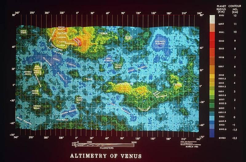 Mapa Venuše sestavená z údajů zaznamenaných kosmickou lodí Pioneer Venus Orbiter