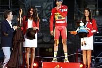 Alberto Contador na pódiu po triumfu na Vueltě