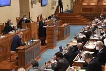 Ministryně pro místní rozvoj Klára Dostálová vystoupila 1. července 2021 v Praze na schůzi Senátu
