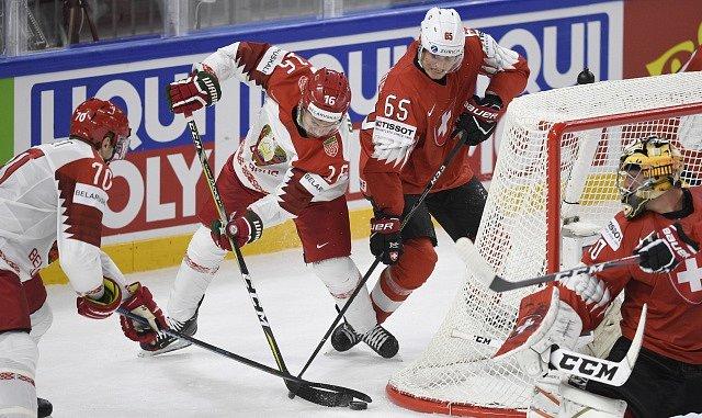 Utkání skupiny A mistrovství světa v hokeji: Švýcarsko - Bělorusko.
