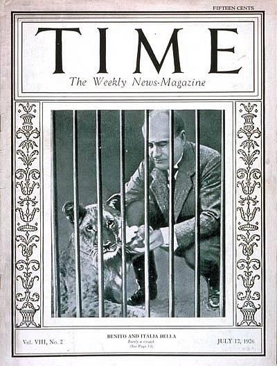 Tři měsíce po nezdařeném atentátu, v červenci 1926, se stal Duce již podruhé tváří obálky časopisu Time