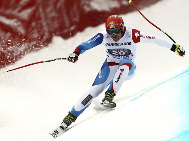Didier Cuche ovládl sjezd SP v Garmisch-Partenkirchenu.