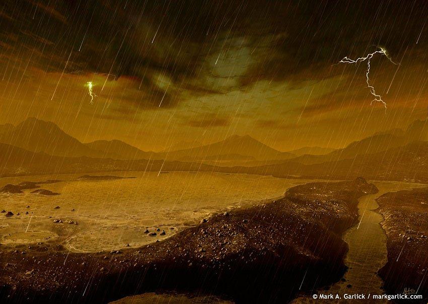 Metanový déšť na Titanu.