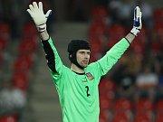 Brankář Petr Čech inkasoval v zápasech s Litvou a Skotskem pouze jeden gól.