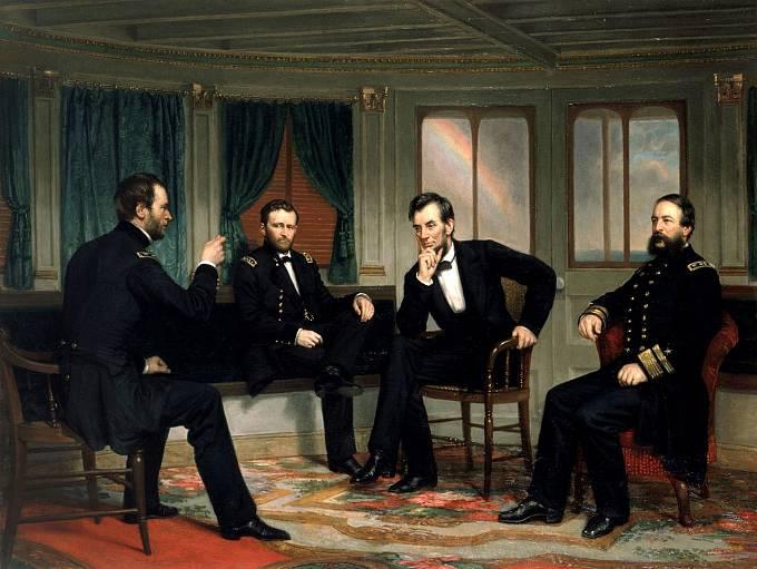 """Americký prezident Abraham Lincoln na obraze nazvaném """"Mírotvůrci"""""""