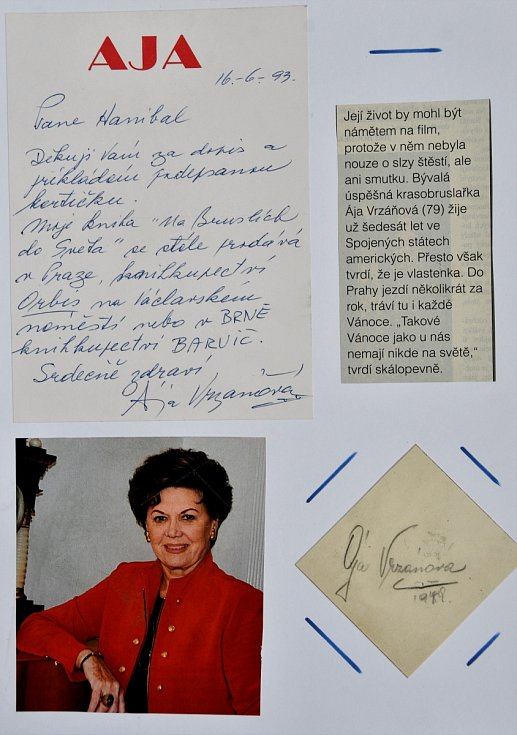 Autogram krasobruslařky Áji Vrzáňové.