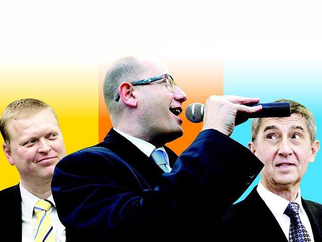 Pavel Bělobrádek, Bohuslav Sobotka a Andrej Babiš.