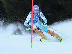 Šárka Strachová ve slalomu SP v Semmeringu.