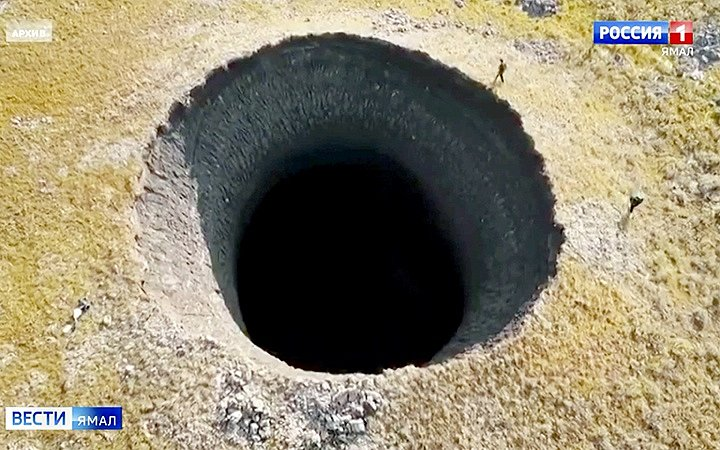 Obří kráter na sibiřském poloostrově Jamal