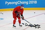 Petr Koukal na tréninku hokejové reprezentace před olympijským startem turnaje.