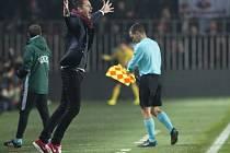 Trenér Sparty David Holoubek se raduje z vítězství a postupu v Evropské lize.