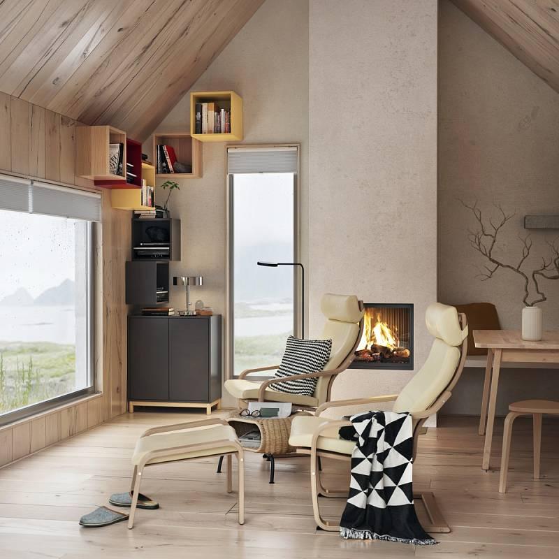 Útulný pokoj díky dřevem obloženým stěnám