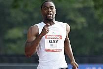 Tyson Gay během závodu na 200 metrů v americkém New Yorku.
