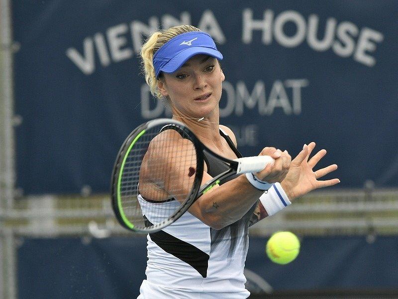 Tereza Martincová v semifinále Prague Open 2021.