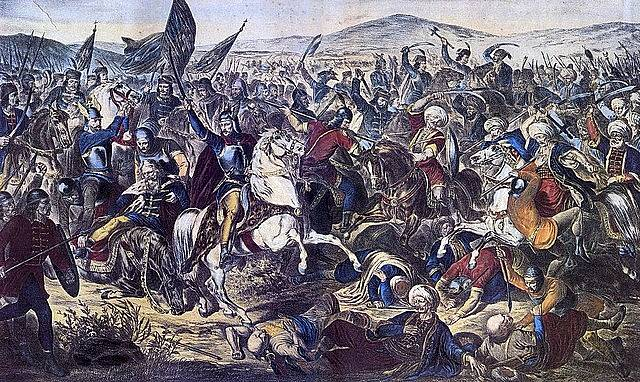 Bitva u Kosova na romantické malbě Adama Stefanoviće z roku 1870