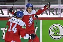 Matěj Blümel oslavuje svou trefu proti Slovensku.