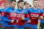 Čeští fotbalisté (zleva) Marek Suchý, Václav Kadlec a Tomáš Necid na tréninku reprezentace.