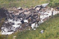 Zbytky sestřelené izraelské stíhačky F-16