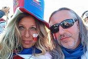 Slovák Erik a Češka Michaela Antalovi z Teplic na zápase ve Wembley.