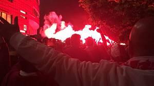 Fanoušci Slavie Praha slaví mistrovský titul