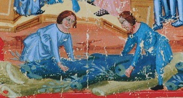 Chodové kácejí stromy (středověká iluminace z latinského zlomku Dalimilovy kroniky)