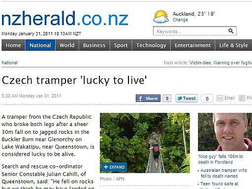 Novozélandský server NZ Herald informoval o úrazu českého turisty poblíž jezera Wakatipu