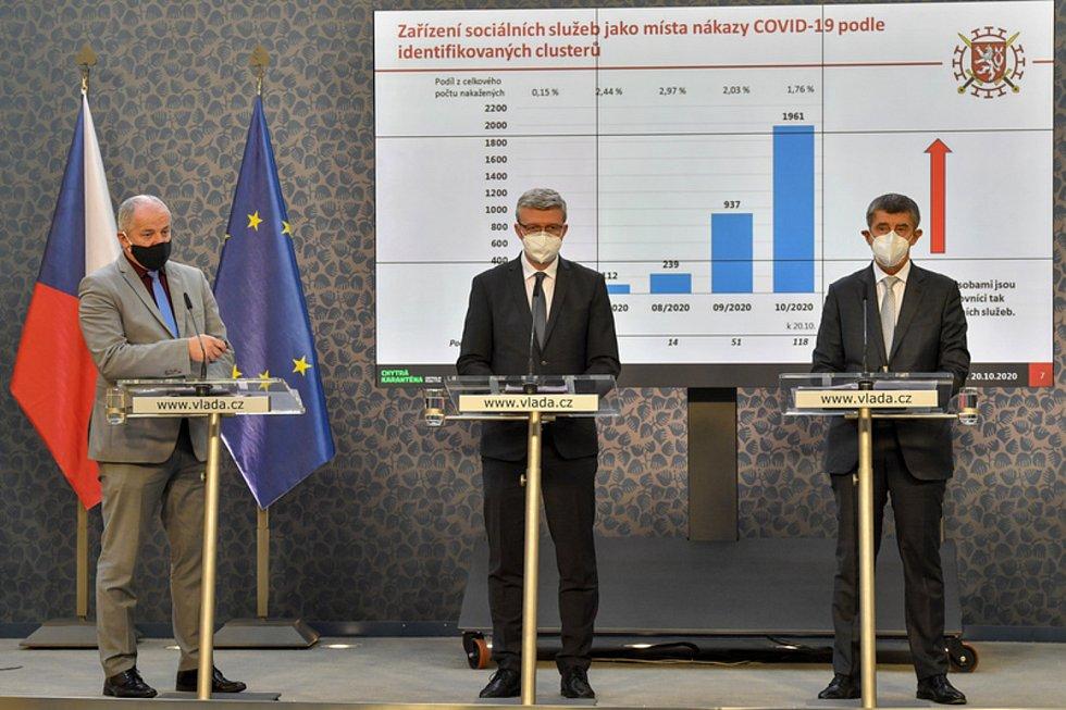 Zleva ministr zdravotnictví Roman Prymula, místopředseda vlády, ministr průmyslu a obchodu a ministr dopravy Karel Havlíček a premiér Andrej Babiš.