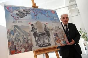 Tisková konference poštovní známka Zikmund Hanzelka Muzeum jihovýchodní Moravy. Miroslav Zikmund jr.