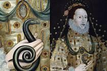 Záhadného hada objevili britští restaurátoři na portrétu anglické královny Alžběty I. Na obraze z konce 16. století je královna zachycena s kyticí růži v ruce, při jeho zkoumání se ale ukázalo, že malíř původně dal královně do ruky svinutého hada.