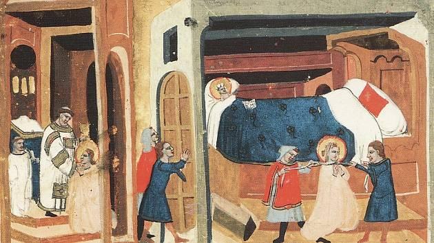 Výjev z Dalimilovy kroniky, zachycující Ludmilino zardoušení