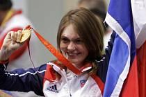 Kateřina Emmons se zlatou olympijskou medaili.