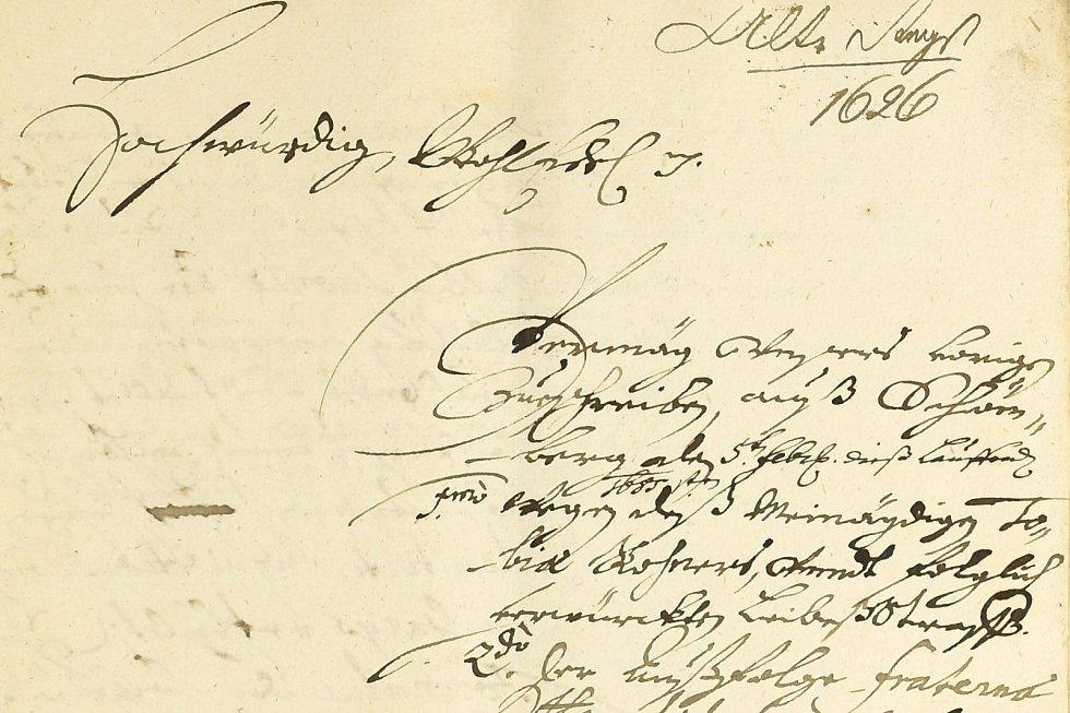 Výřez z listiny k čarodějnickým procesům na Šumpersku