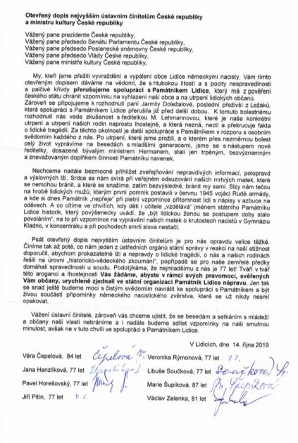 Otevřený dopis pro ústavní činitele