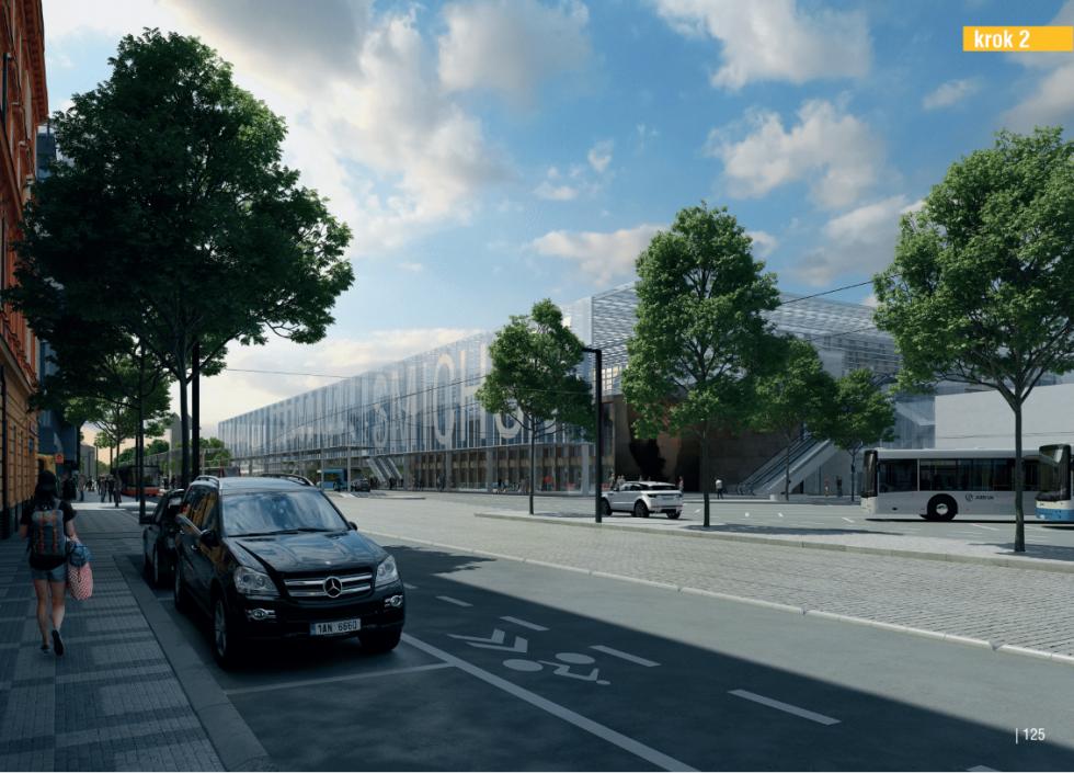 Budova smíchovského nádraží navrhovaná podoba. Krok 2