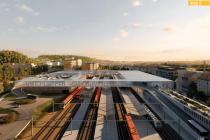 Smíchovské nádraží navrhovaná podoba. Naproti stávající nádražní budově přes koleje vznikne parkovací dům se záchytným kapacitním parkovištěm a terminál pro autobusy, postupně se sem přesunou ostatní linky.