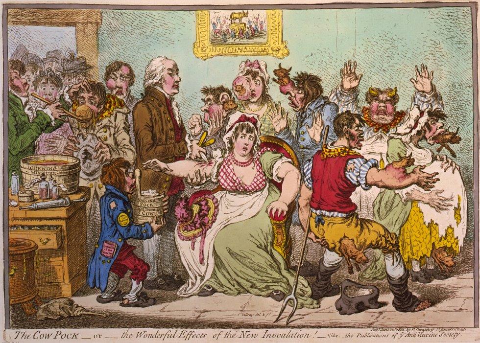 Karikatura Jamese Gillraye z roku 1802, zachycující Jennerem oočkované pacienty, zděšené z toho, že z jejich těla rostou kravské hlavy