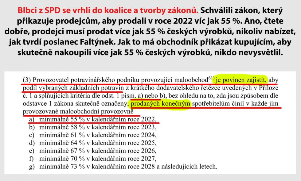 Diskutéři se také pozastavili nad tím, že stát přikazuje prodejcům ne, kolik procent české produkce mají nabídnout, ale kolik jí mají prodat
