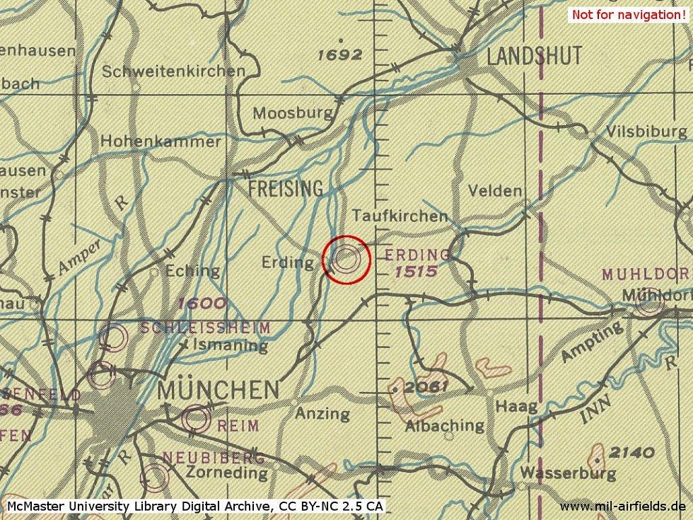 Původní letiště v Erdingu, kam zamířila letadla pilotů utíkajících z Československa