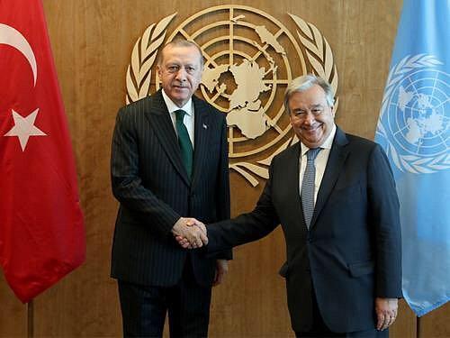 Turecký prezident Recep Tayyip Erdogan a generální tajemník OSN António Guterres