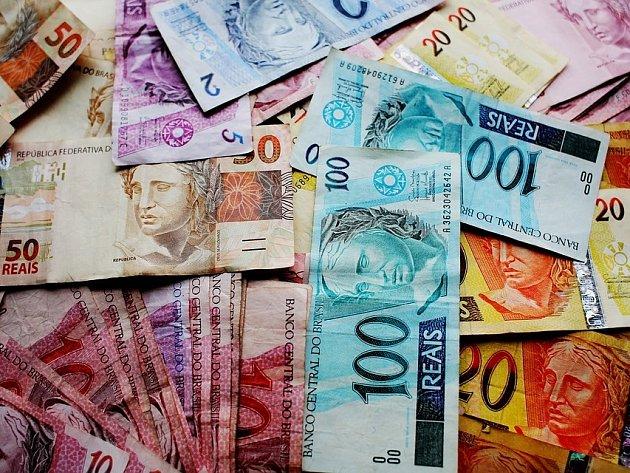 Brazilská měna - reál. Ilustrační foto.