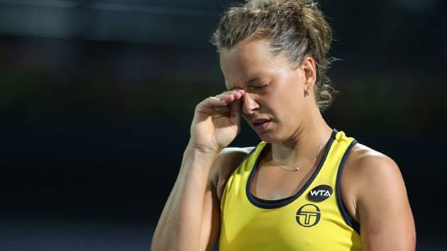 Barbora Strýcová ve finále turnaje v Dubaji.