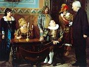 Zleva Dagmar Patrasová, Jana Brejchová, Vlastimil Brodský (sedící) a Jiří Sovák (vpravo) během natáčení filmu Arabela, režie Václav Vorlíček.
