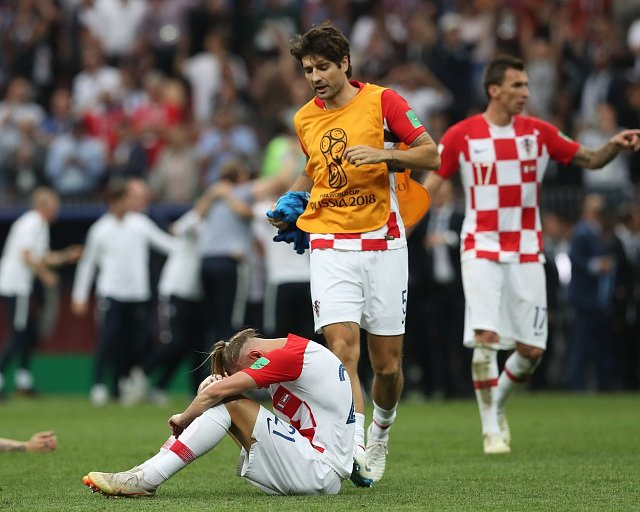 Zklamání Chorvatů po prohře ve finále MS.