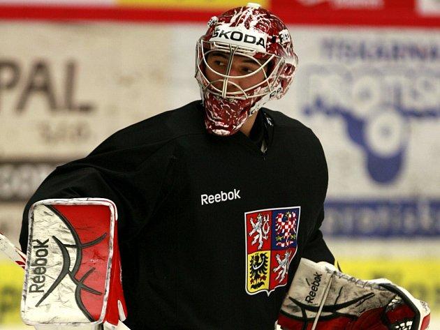 Brankář Jakub Kovář na tréninku hokejové reprezentace.