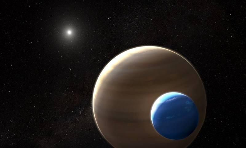 Umělecká představa extrasolárního měsíce Kepler-1625b I, obíhajícího svou planetu