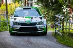 Rally Bohemia, pátý závod seriálu Mistrovství České republiky v rally, pokračovala 2. července. Na snímku Jan Kopecký a spolujezdec Pavel Dresler s vozem Škoda Fabia R5 na deváté rychlostní zkoušce - Radostín.