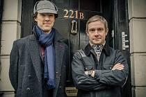 Představitel nejnovějšího filmového Sherlocka Holmese Benedict Cumberbatch a Martin Freeman jako John Watson.